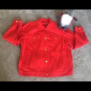 Ralph Lauren red denim jacket size 2XL gold accent